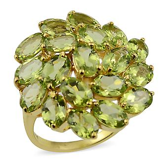 Peridot Floral Cluster Ring i Sterling Sølv Gul Forgyldt 9,5 Ct