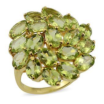 Peridot Floral Cluster Ring in Sterling Silber gelb vergoldet 9,5 Ct
