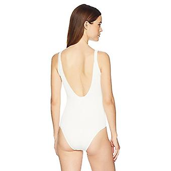 Brand - Mae Women's Swimwear Ribbed D-Ring One Piece Swimsuit (for A-C cups),Cream,Large