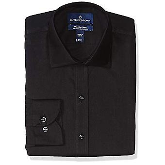 BUTTONED DOWN Men's Slim Fit Stretch Twill Non-Iron Dress Shirt, Black, 15.5