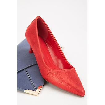 Red Shimmery Kitten Court Heels