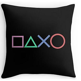 Customized Printing Playstation Buttons Pillowcase - Funny Vintage Style Square Throw Pillow Cover