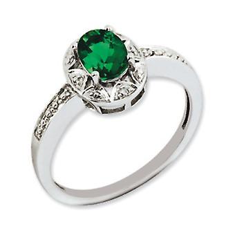 925 Sterling Argent Poli Rhodium plaqué Diamant et Créé Emerald Ring Bijoux Cadeaux pour les femmes - Taille de l'anneau: 5 à 1