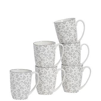 Nicola Spring 6-osainen päivänkakkara kuviollinen tee- ja kahvimukisetti - Suuret posliinilattemukit - Harmaa - 360ml