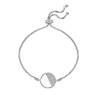Diamantes calientes Plata esterlina Horizon blanco topaz círculo pulsera DL601