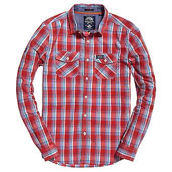 قميص مغسلة الغسل فائق الغسل - شيك أحمر مغسول