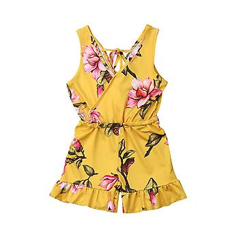 Summer Baby Sleeveless Floral Romper Jumpsuit Toddler Kids Casual Overalls