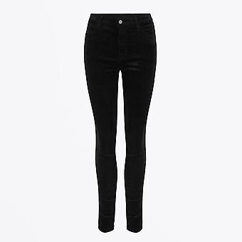 J Brand  - Maria High Rise Skinny Velvet Jeans - Black
