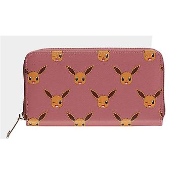 Pokemon Purse Eevee Face All Over Print Logo new Official Pink Zip Around