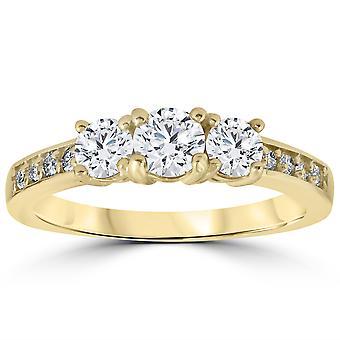 1 1 / 2 cttw Diamond 3-Stone Engagement Anniversary Ring 14k gult gull