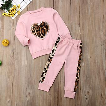 Autumn Winter Kids Baby Clothes Tracksuit Sets- Long Sleeve Leopard Tops, Pants