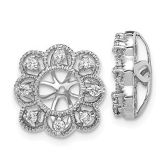 10mm 14k White Gold Diamond Earrings Jacket Jewelry Gifts for Women - .24 dwt