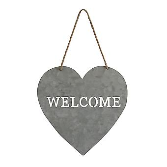 Gray Metal Heart Decorative Hanging Sign Welcome