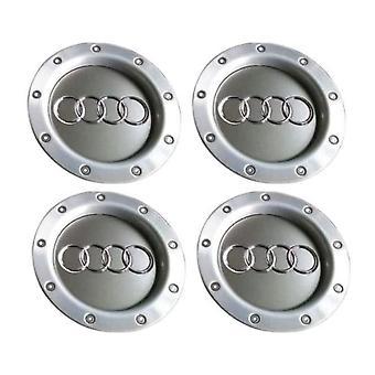 Silver Audi Wheel Center Caps Hub Badges 145mm 4 PCS For TT A1 A3 A4 A5 A6 A7 A8 Q7