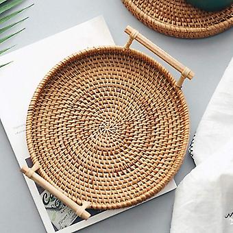 Round Basket With Handle, Hand-woven, Rattan Tray Wicker Basket Bread Fruit