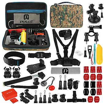 PULUZ 53 en 1 Accessoires Total Ultimate Combo Kits avec Camouflage EVA Case (Chest Strap + Suction Cup Mount + 3-Way Pivot Arms + J-Hook Buckle + Wri