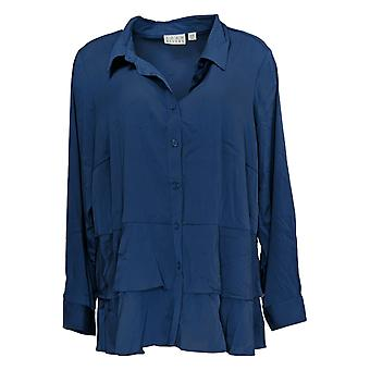 Joan Rivers Classics Collection Women's Plus Top Button Down Blue A373930