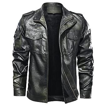 New Autumn Winter Leather Jacket, Men Stand Collar Motorcycle Washed Coat