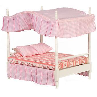 Dolls House White Double 4 Poster Canopy Bed Miniatuur 1:12 Slaapkamermeubilair