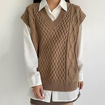 נשים פשוט כל התאמה סגנון V-צוואר סרוג סוודר פנאי סטודנט ללא שרוולים