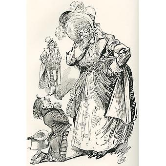 Major Tpschoffki Illustration by Harry Furniss for a Charles Dickens Christmas story Going Into Society from The Testimonial Edition published 1910 PosterPrint
