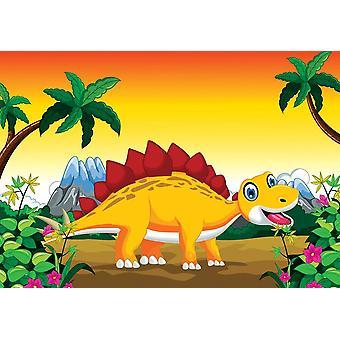 Fondo de pantalla Mural dinosaurio de dibujos animados con La