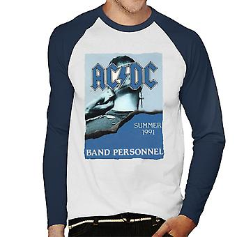 AC/DC Summer 1991 Band Personnel Men's Baseball Long Sleeved T-Shirt