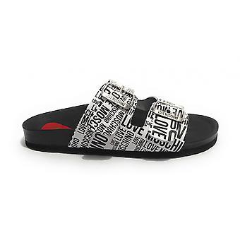 Women's Shoes Love Moschino Sabot Birki In White Leather/ Black Ds21mo05 Ja28073