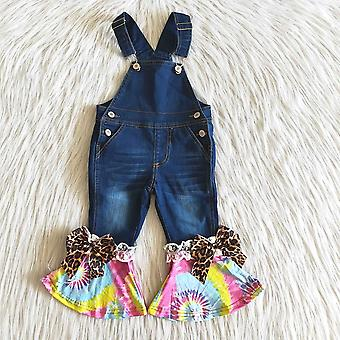Tye-dye Jeans, Jumpsuit With Bows- Button Design Pants