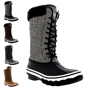 Womens Outdoor Cold Weather Winter Fold Down Fur Cuff Snow Rain Boots UK 3-10
