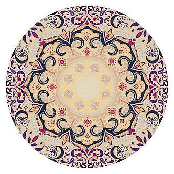 Круглый хрустальный бархатный ковер Многоцветный этнический стиль печатный ковер Стильный и личность для спальни и гостиной