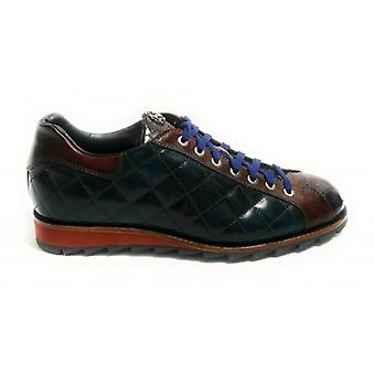 Harris Shoes Sneaker Quilted Leather Ocean Blue/ Pink Python Print U17ha99