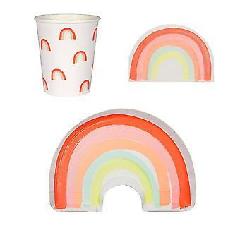 Meri Meri Rainbow Party Set Plates Napkins Cups for 12
