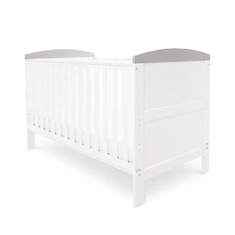 Ickle Bubba Coleby Classic Cot Bed and Pocket Sprung Mattress - White with Grey Trim