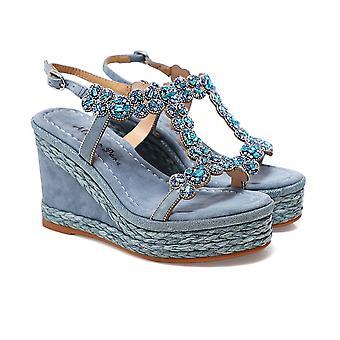Alma en Pena T-Bar Rhinestone Wedge Sandals