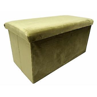 puff foldable 76 x 38 x 38 cm velvet light green