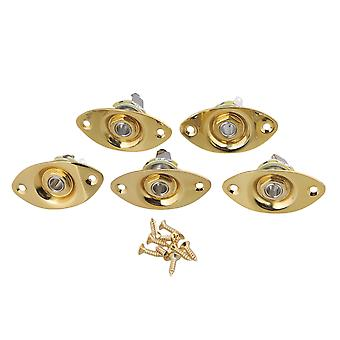 5xGold Oval Electric Guitar Output Jack Socket Plate com parafusos