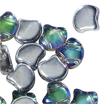الزجاج التشيكي، 2-هول جينكو الخرز 7.5mm، 10 غرام، النفط الخلفية