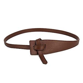 Women Soft Knotted Strap Long Dress Pu Leather Belt