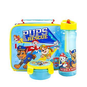 Paw Patrol Lunch Box 3 Piece Set Kids | Bolsa de comida aislada, botella y merienda para la escuela | Blue Chase Rubble Marshall Skye | Niños &Niñas Tv Show Mercancía