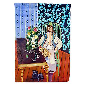 Caroline'S Treasures 7265Chf Lady With Her Pug Flag Canvas, Grand, Multicolore
