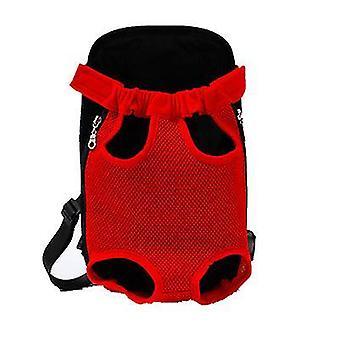 Xl 41 * 25cm roșu în aer liber sac portabil pentru animale de companie, rucsac plasă respirabil pentru pisici și câini az7804