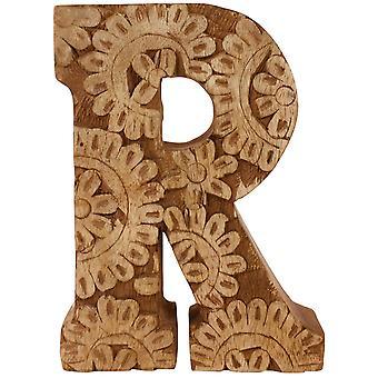 Buchstabe R Hand geschnitzt Holzblume