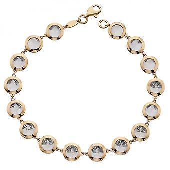 Elements Gold Diamond Cut Tennis Yellow And White Gold Bracelet GB501