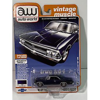1966 Chevy Chevelle SS 396 Danube Blue Poly 1:64 Auto World AW64252A