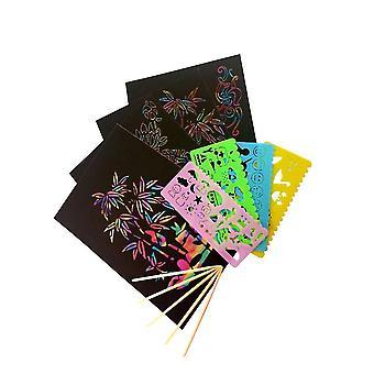 59pcs متعة الأطفال خدش ورقة الخدش ورقة الرسم أوراق الرسم الإبداعية ورقة الرسم الصفر تعيين الأسود (50 ورقة، 5 أقلام الخيزران، 4 العفن)