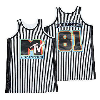 Men's Music Television #81 Rock And Roll Basketball Jersey Stitched Sports T Shirt S-xxl