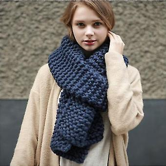 Imitation Cashmere Winter Women's Scarf Bib Thick Pure Color Knitted Thick Wool Handmade Scarf(Blue)