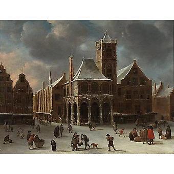 Det gamle rådhuset i Amsterdam om vinteren, Abraham Beerstraaten