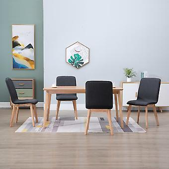 vidaXL dining chairs 4 pcs. grey fabric and solid wood oak